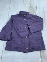 Eddie Bauer Womens Mock Neck Button Front Pockets Purple Jacket Size Medium