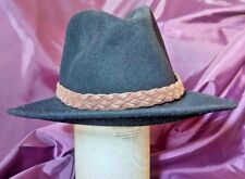 Black Vintage Mens Wool Felt Fedora Trilby Hat Size 55cm, UK 6 7/8 Kyome