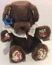 Applause Mocha Bon Bon bear plush brown Christmas teddy red green flowers lace