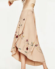 ZARA NUDE EMBROIDERED LONG MAXI SARONG SKIRT FLORAL WICKEL ROCK BLUMEN STICKEREI