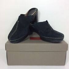 COLE HAAN BLACK SUEDE CLOG SLIP ON WEDGE HEEL SHOES SIZE 7 B 13555