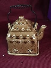 Brown Cottage Teapot With Metal Handle
