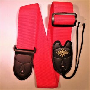 1 RotoSound Guitar Strap with Leather Ends for Electric/Guitar/Bass (Red).
