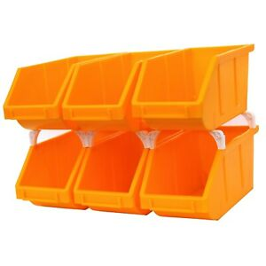 """6-Pack Stackable Storage Bins Tool Part Container Yellow 5"""" w x 10"""" d x 5"""" h"""