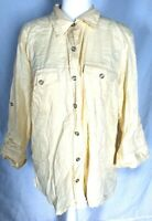 Women's Large Blouse Yellow 3/4 Sleeves Button Down Pockets Collared Cotton