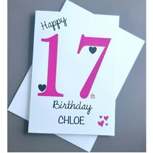 Personalised 17th Birthday Card Girl - 17 Years Old Daughter Granddaughter Niece