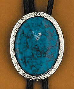 SOUTH WESTERN Style Blue TURQUOISE STONE Unisex BOLO TIE with Leather STRAP New