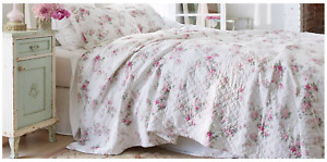 NEW Simply Shabby Chic White & Pink BLOOMING BLOSSOMS King Quilt ~French Cottage