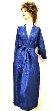 "Navy Blue Rayon Robe Kimono bath robe 50"" long Brand New handmade floral Size L"