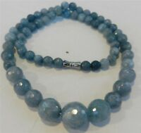 6-14mm Brazilian Aquamarine Faceted Gems Round Beads Necklace 18'' JN267