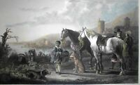 "JAGDPAUSE Gr. Stahlstichtafel 1866/7.Nach Gemälde von A. Cuyp. ""LE PAGE NOIR"":"