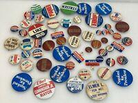 58 Vintage U.S. Presidential Pin Button Metal Tab Campaign Lot