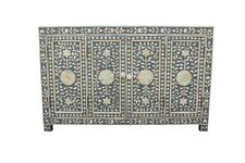 Indian Luxury Bone Inlay Sideboard with 4 Doors In Grey Color