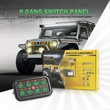 Universal 8 Gang On-Off Control Switch Panel Green LED for Jeep Dodge SUV Truck