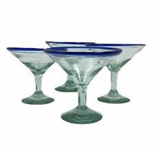 4 Mini Dessert Cocktail Glasses Cobalt Blue Rim Mexican Glass Bubbles Hand Blown