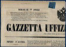 1855 - Parma - cent.9 azzurro su giornale del 18 Aprile - Certificato SPC