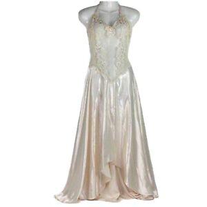 Vintage Victorias Secret Bridal Nightgown Large Backless Halter Sheer Lace Front