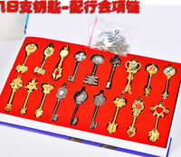 Fairy Tail Lucy Cosplay 18pcs Set Keys Pendant Keychain Necklace In Box Gift