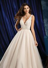 972 ALFRED ANGELO SAPPHIRE BLUSH/SILVER SZ 10 $1799 WEDDING GOWN DRESS