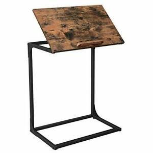 Sofa Side Table, Laptop Table with Tilting Top, Heavy Duty Steel Frame