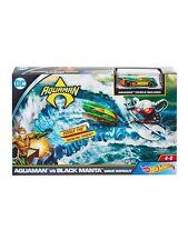 New Hot Wheels DC Aquaman vs Black Manta Wave Wipeout Playset Car