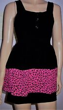 WAL G Black Pink Animal Print Layer Adjustable Strap Belted Party Dress Size S