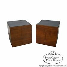 Lane Mid Century Modern Pair of Walnut Cube Pedestals or Side Tables