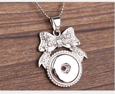 NEW Tie Crystal Alloy Pendant for Fit Noosa Necklace Snap Chunk Button #R25