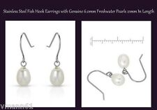 Brand New Earrings With Genuine 6.0mm Freshwater Pearls Stainless steel Length 2