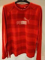 Puma Red Striped Long Sleeved T Shirt Medium