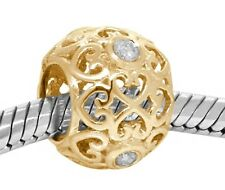 Tyche Natural Diamond 9K 9ct 375 Solid Gold Bead Charm FIT EURO BRACELETS