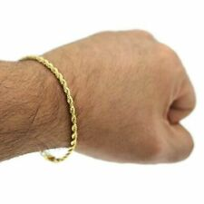 Real 14k Solid Yellow Gold Men's / Women  Diamond Cut Rope Bracelet / Anklet