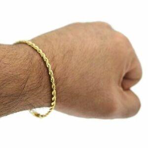 Real 14k Solid Yellow Gold Men's / Women  Diamond Cut Rope Bracelet / Anklet