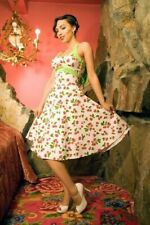 PINUP COUTURE DAISY WHITE CHERRY HALTER DRESS XS - retro, swing, rockabilly