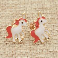 1 Pair Women Mini Unicorn Ear Studs Red Tail Earrings Animal Horse Jewelry