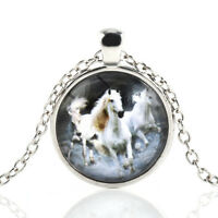 Vintage Horse Cabochon Silver plated Glass Chain Pendant Necklace Jewelry