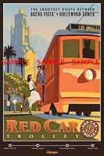Vintage Disney ( Red Car Trolley ) Collector's Poster Print - B2G1F