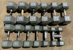 CAP Cast Iron Hex Dumbbells 10 - 75 lbs Lot (Choose Singles or Pairs)