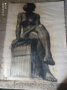 Grand dessin fusain Nu académique femme daté 1936 et signé sur papier MBM