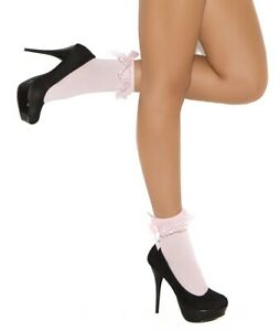 NEW sexy ELEGANT MOMENTS ankle SOCKS lace RUFFLED ruffles TOP satin BOWS anklets