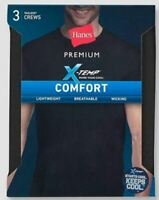 Hanes Men's 3-Pk X-TEMP Comfort Cool Crew Neck T-Shirts - Black -Size Large