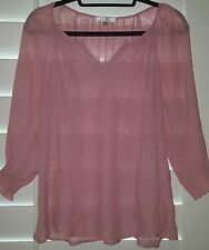 Spense Top Women's Embroidered Lace 3/4 Sleeve Boho Blouse Pink Size Small Roomy