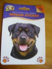 ROTTWEILER DOUBLE SIDED WINDOW STICKER ROTTY DOG (mouth open)
