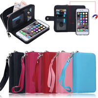 Luxury PU Leather Purse Zipper Wallet Case Card Cash Holder Cover For iPhone SE