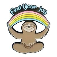 Stickeroonie Cute Sloth Handmade Enamel Lapel Pin Rainbow JOY.