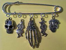 Kilt Pin Purse Brooch Day Of Dead Skeleton Mex Skull 5 Silver Charms Halloween