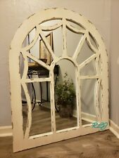 Distressed Shabby Rustic Country Cottage Windowpane Arched Wood Mirror Wall Art