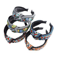 Women's Embroidery Knot Headband Tie Hairband Wide Hair Band Hoop Accessories