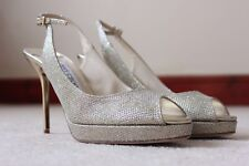 Jimmy Choo WOMEN GIRL HIGH HEELS LADIES PARTY DOLLY BRIDAL Champagne Size UK 4