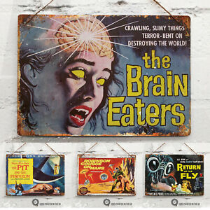 Retro Movie Poster Collection Metal Wall Sign Cinema Mancave Horror Sci-Fi Room
